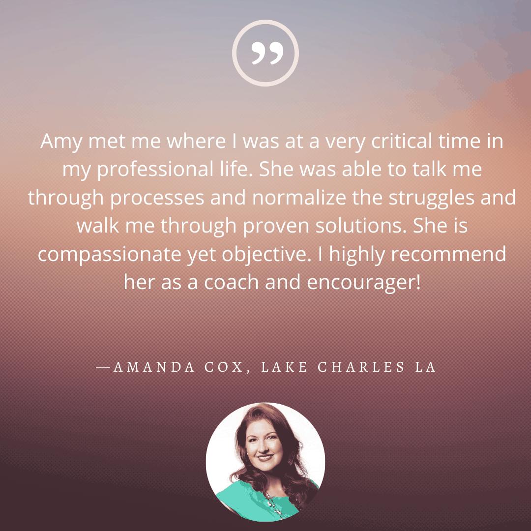 Testimonial from Amanda Cox